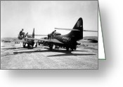 Fighter Jets Greeting Cards - F9f Panther Jets Being Refueled Greeting Card by Stocktrek Images