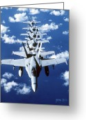 F-18 Greeting Cards - Fa-18c Hornet Aircraft Fly In Formation Greeting Card by Stocktrek Images