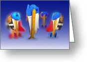 Musicians Digital Art Greeting Cards - Fab Four Greeting Card by Charles Stuart