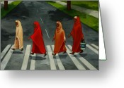 Crosswalk Painting Greeting Cards - Fab Four Greeting Card by Joan Engelmeyer