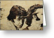 George Harrison Pyrography Greeting Cards - Fab Four Greeting Card by Michael Garbe