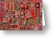 India Greeting Cards - Fabric Art - Patch Work Greeting Card by Milind Torney