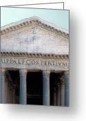 Classical Style Greeting Cards - Facade Of The Pantheon In Rome, Italy. Greeting Card by Mel Curtis