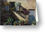 Door Greeting Cards - Facciata In Ombra Greeting Card by Guido Borelli