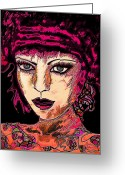 Dark Blue Chin Greeting Cards - Face 13 Greeting Card by Natalie Holland