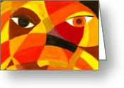 Expressive Pastels Greeting Cards - Face 45 Greeting Card by Hakon Soreide