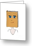 Reading Faces Greeting Cards - Face Book Greeting Card by Frank Tschakert