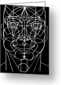 All Star Mixed Media Greeting Cards - Face Geometrized Greeting Card by Paulo Zerbato