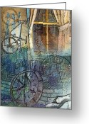 Clocks Digital Art Greeting Cards - Face In The Window Embossed Montage Greeting Card by Arline Wagner