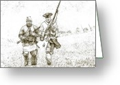 Colonial Scene Greeting Cards - Face of Danger Soldier Sketch Greeting Card by Randy Steele