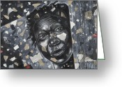Black Art Greeting Cards - Face Of Innocence Greeting Card by Larry Poncho Brown