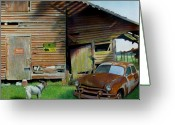 Old Country Roads Painting Greeting Cards - Face-Off Greeting Card by Doug Strickland