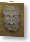 Face Reliefs Greeting Cards - Face on the mask  Greeting Card by Almark