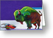 The American Buffalo Painting Greeting Cards - Face to Face Greeting Card by Joe  Triano