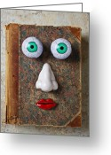 Reading Faces Greeting Cards - Facebook old book with face Greeting Card by Garry Gay