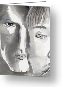 Monotone Painting Greeting Cards - Faces Greeting Card by Arline Wagner