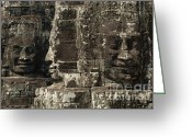 Ancient Ruins Greeting Cards - Faces of Banyon Angkor Wat Cambodia Greeting Card by Bob Christopher