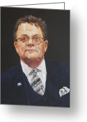 Business Painting Greeting Cards - Faces of Oroville - Jim Moll Greeting Card by Kenneth Kelsoe