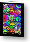 Clocks Greeting Cards - Faces Of Time 1 Greeting Card by Mike McGlothlen
