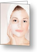 Body Scrub Greeting Cards - Facial mask on beautiful face Greeting Card by Anna Omelchenko
