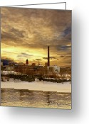 Winter Art Greeting Cards - Factory Town Greeting Card by Bob Orsillo