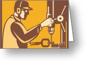 Press Greeting Cards - Factory Worker Operator With Drill Press Retro Greeting Card by Aloysius Patrimonio