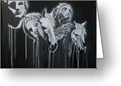 Greek Sculpture Painting Greeting Cards - Fade To Black and Remember Back... Greeting Card by Stephen  Barry