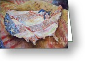 Red White And Blue Mixed Media Greeting Cards - Faded Glory Greeting Card by Deborah Smith
