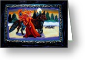 Snow Framed Prints Greeting Cards - Faerie and Wolf Greeting Card by Genevieve Esson
