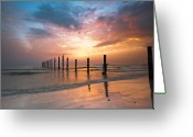Horizon Over Water Greeting Cards - Fahaheel Sunrise Kuwait Greeting Card by Shahbaz Hussain