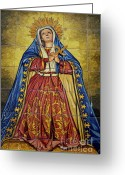 Religious Icon Greeting Cards - Faience mural depicting the Virgin Mary on a wall Greeting Card by Sami Sarkis