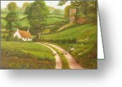 Castle Painting Greeting Cards - Failte romhat  Welcome Greeting Card by Charolette A Coulter