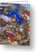 Flag Greeting Cards - Fair Faces of Courage Greeting Card by Bob Wilson