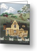 Farmhouse Greeting Cards - Fairhill Farm Greeting Card by Catherine Holman
