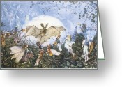 Bat Greeting Cards - Fairies Attacking a Bat Greeting Card by John Anster Fitzgerald