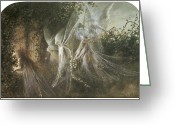 Gothic Arch Greeting Cards - Fairies Looking through a Gothic Arch Greeting Card by John Anster Fitzgerald