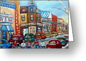 National League Painting Greeting Cards - Fairmount Bagel And Hockey Greeting Card by Carole Spandau