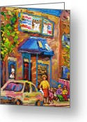 Corner Stores Greeting Cards - Fairmount Bagel Fairmount Street Montreal Greeting Card by Carole Spandau
