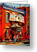 Montreal Summer Scenes Greeting Cards - Fairmount Bagel Montreal Greeting Card by Carole Spandau