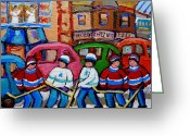 Hockey Stars Greeting Cards - Fairmount Bagel Street Hockey Game Greeting Card by Carole Spandau
