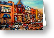 Hockey On The Streets Of Montreal Greeting Cards - Fairmount Bagel With Hockey Greeting Card by Carole Spandau