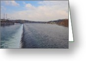Boathouse Row Philadelphia Greeting Cards - Fairmount Dam and Boathouse Row - Philadelphia Greeting Card by Bill Cannon