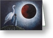 Landscape Posters Painting Greeting Cards - Fairy and Egret Fantasy Art by Shawna Erback Night With The Great Egre Greeting Card by Shawna Erback