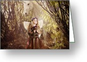 Unicorn Art Greeting Cards - Fairy and Unicorn Greeting Card by Cindy Singleton