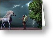 Storm Digital Art Greeting Cards - Fairy and Unicorn Greeting Card by Corey Ford