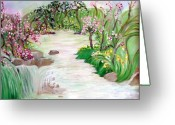 Lanscape Mixed Media Greeting Cards - Fairy Blossom Falls Greeting Card by Sherri  Of Palm Springs