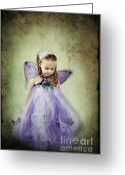 Tulle Greeting Cards - Fairy Child Greeting Card by Stephanie Frey