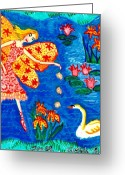 Sue Burgess Ceramics Greeting Cards - Fairy feeding swan Greeting Card by Sushila Burgess