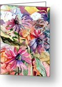 Floral Drawings Greeting Cards - Fairy Land Greeting Card by Mindy Newman