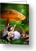 Toadstools Greeting Cards - Fairy Woodland Greeting Card by Julie L Hoddinott